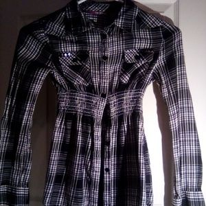 Black\white button shirt girl's size large